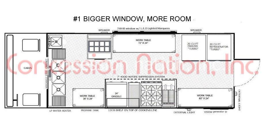 Food truck layouts food truck floor plans concession for Food truck design plan