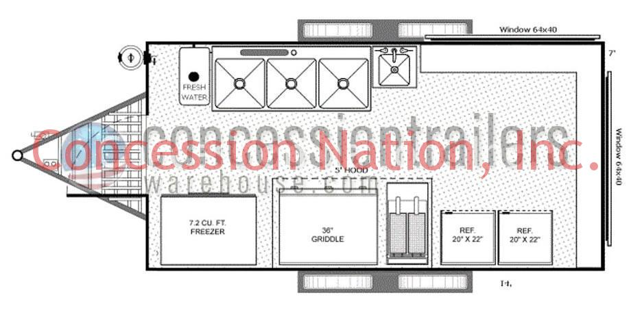 concession trailer floor plans concession trailer layout rh concessionnation com Small Concession Trailers BBQ Concession Trailers
