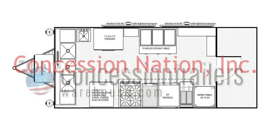 Advanced concession trailers food trailer plans for Food truck layout plans