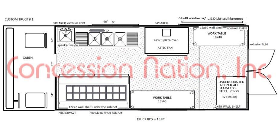 Floor plan food truck design food truck kitchen design for Food truck layout plans