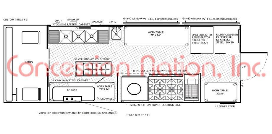 Floor plan food truck design food truck kitchen design for Food truck layout