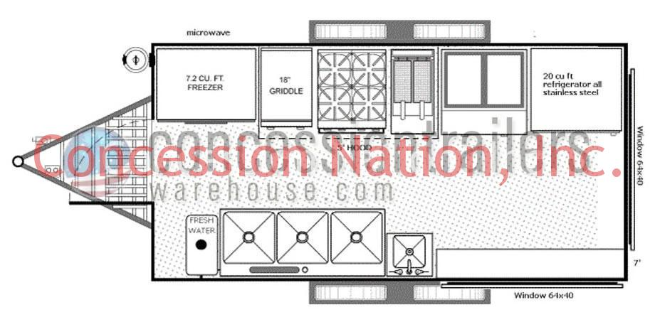 Concession trailer floor plans concession trailer layout for Food truck design plan